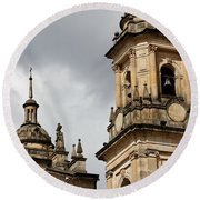 Bogota Cathedral Towers Round Beach Towel