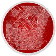 Bogota Street Map - Bogota Colombia Road Map Art On Color Round Beach Towel