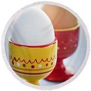 Boiled Eggs In Cups Round Beach Towel by Elena Elisseeva