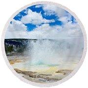 Boiling Point - Geyser Eruption In Yellowstone National Park Round Beach Towel