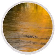 Boise River Autumn Abstract Round Beach Towel