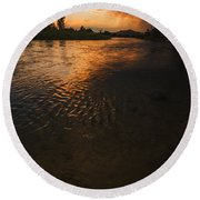 Boise River Dramatic Sunset Round Beach Towel