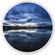 Boise River Just After Sunset Round Beach Towel