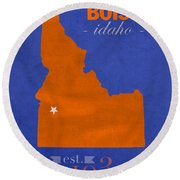 Boise State University Broncos Boise Idaho College Town State Map Poster Series No 019 Round Beach Towel