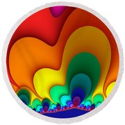Bold Colors Fractal Round Beach Towel