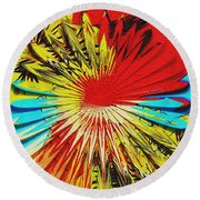 Bold Floral Hat Abstract Round Beach Towel