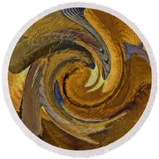 Bold Golden Abstract Round Beach Towel