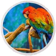 Bold Parrot Round Beach Towel