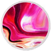 Bold Pink Abstract Round Beach Towel