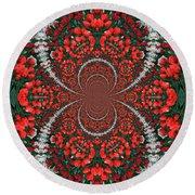 Tulips Kaleidoscope - Red And Green Round Beach Towel