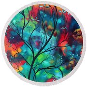 Bold Rich Colorful Landscape Painting Original Art Colored Inspiration By Madart Round Beach Towel by Megan Duncanson