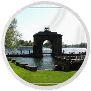 Boldt Castle Entry Arch Round Beach Towel by Rose Santuci-Sofranko