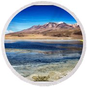 Bolivia Desert Lake Framed Round Beach Towel