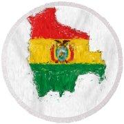 Bolivia Painted Flag Map Round Beach Towel