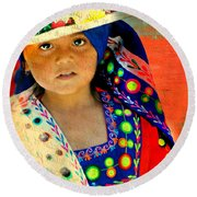 Bolivian Child Round Beach Towel