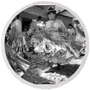 Bolivian Dance Framed Black And White Round Beach Towel