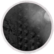 Bolts On The Trident In Black And White Round Beach Towel