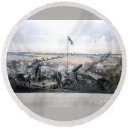 Bombardment Of Fort Fisher Round Beach Towel