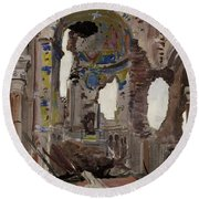 Bombed Out Interior Of Albert Church Round Beach Towel by Ernest Proctor