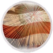 Bombs Bursting In Air Round Beach Towel by Heidi Smith