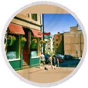 Bonaparte 4 Star Classic French Resto Vieux Montreal Paris Style Bistro Paintings Carole Spandau Art Round Beach Towel