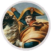 Bonaparte Crossing The Alps Oil On Canvas Detail Of 18491 Round Beach Towel