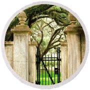 Bonaventure Cemetery Gate Savannah Ga Round Beach Towel