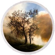 Bonfire And Olive Tree Round Beach Towel