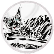 Bonifacy Cat Round Beach Towel