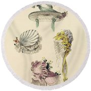 Bonnets For An Occasion, Fashion Plate Round Beach Towel