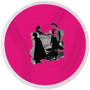 Bonnie Parker Aiming Rifle At Clyde Barrow March 1933-2008 Round Beach Towel
