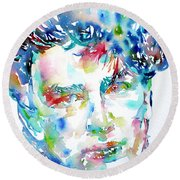 Bono Watercolor Portrait.1 Round Beach Towel by Fabrizio Cassetta