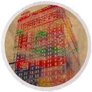 Book Cadillac Iconic Buildings Of Detroit Watercolor On Worn Canvas Series Number 3 Round Beach Towel by Design Turnpike