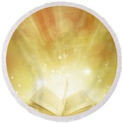 Book Of Dreams Round Beach Towel by Les Cunliffe