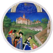 Book Of Hours: April Round Beach Towel