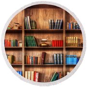 Book Shelf Round Beach Towel