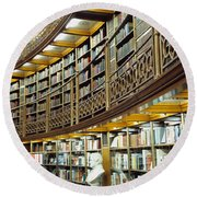 Bookcase In A Library, British Museum Round Beach Towel by Panoramic Images