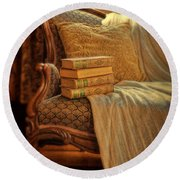 Books On Victorian Sofa Round Beach Towel
