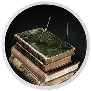 Books With Glasses Round Beach Towel by Joana Kruse