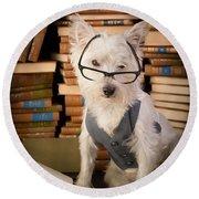 Bookworm Dog Round Beach Towel