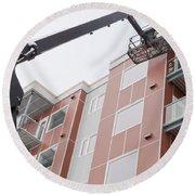 Boom Lift Worker Work Apartment Highrise Exterior Round Beach Towel
