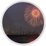 Boom In The Sky Round Beach Towel