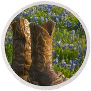 Boots And Bluebonnets Round Beach Towel