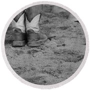 Boots And Horse Hooves Round Beach Towel