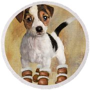Boots For Baxter Round Beach Towel