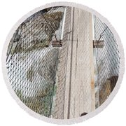 Boots On Narrow Swing Bridge Over White Water Round Beach Towel