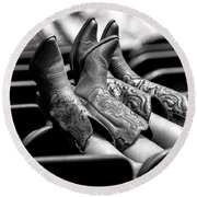 Boots Up - Bw Round Beach Towel