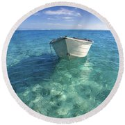 Bora Bora White Boat Round Beach Towel