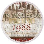 Bordeaux Blanc Label 1 Round Beach Towel by Debbie DeWitt