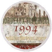 Bordeaux Blanc Label 2 Round Beach Towel by Debbie DeWitt